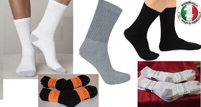 Davido Mens socks crew 100% cotton made in Italy white / black 6 pairs
