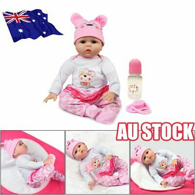 "22"" Newborn Doll Real Lifelike Silicone Reborn Baby Dolls Toddler Girl Gift OD"