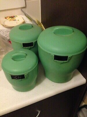 3x Lot VINTAGE Bakelite canisters Green Art Deco Antique Kitsch Retro Storage