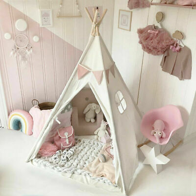 Gray Kids Play Tent Indian Teepee Camping Sleeping Hideout Shelter Cotton Canvas
