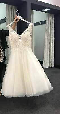 White/Ivory Lace Short Wedding Dress Bridal Gown Prom Formal Gown size 10