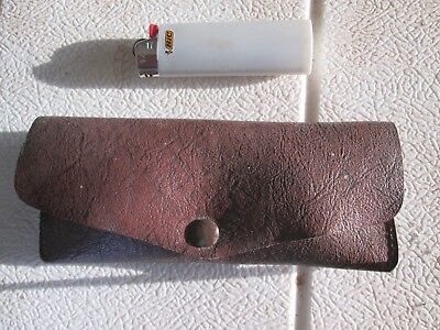 Vintage Magnifying Heavy Glass Desk leather pouch rare collectable thick glass