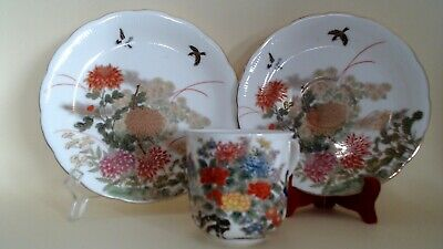 Vintagejapanese Shibata Trio Deco. With Peonies And Birds Enamels & Gold