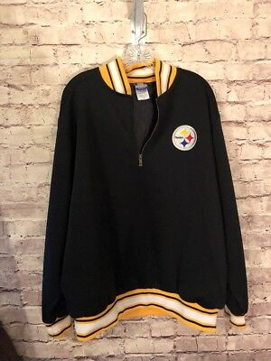 online store 6fdbd 6c1fd PITTSBURGH STEELERS NFL Pullover Jacket Mens L Reebok Team Apparel 1/4 Zip  EUC