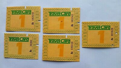 Melbourne Public Transport Travel Card tickets early 1980s - set of 5