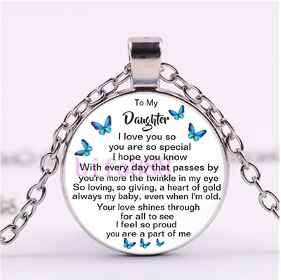 To My Daughter I Love You So,you Are So Special Cabochon Glass Chain Necklace