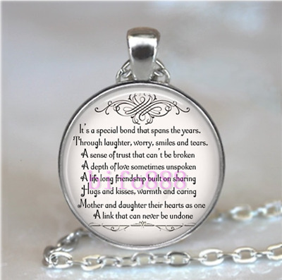 Mother & Daughter Quotes Photo Tibet Silver Cabochon Pendant Chain Necklace