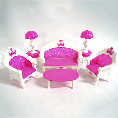 NEW Fashion Lovely Toy  Doll Pink Sofa Chair Desk Lamp Furniture Set  OJ