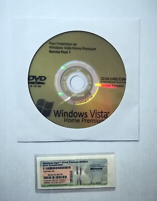 1 Sticker Cle De Licence Windows Vista Home Premium 32 Bit+ Dvd Install Sp1 Fr