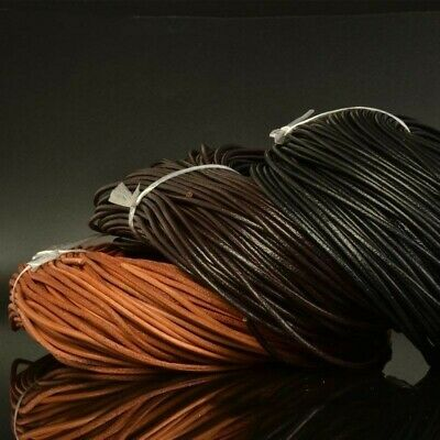 10M Real Round Waxed Leather Rope Cord String Thong Bracelet Necklace Strap DIY