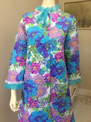 Original Vintage 60s Dressing Gown Robe Nightgown Lingerie, Burlesque Pinup