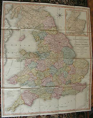 Plan Carte Rare Map Of England Wales & Scotland By William Faden In Color 1801