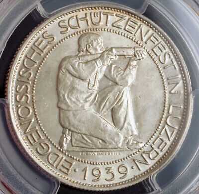 1939, Switzerland (Confederation). Silver Shooting Thaler (5 Fr) Coin.PCGS MS65!