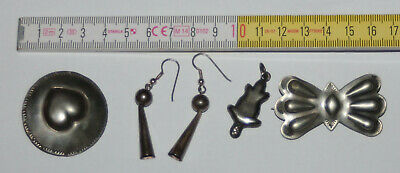 native american SILBER Neusilber Konvolut - ball and cone earrings usw - ALT