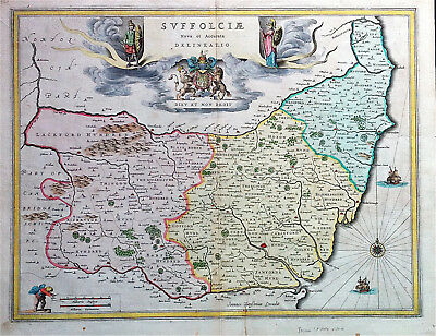 Map of SUFFOLK by Jansson 1640 original Rare edition copperplate engraved