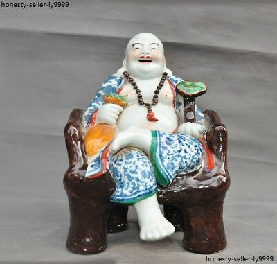 old Chinese wucai porcelain master hand carved laughter maitreya Buddha statue