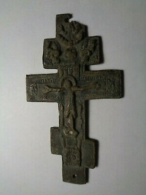 Russian Empire ancient orthodox bronze large icon cross 1800s original 119