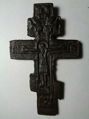 Russian Empire ancient orthodox bronze large icon cross 1800s original 125