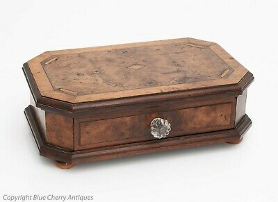 Antique Burr Wood Walnut Desk Top Cigar Drawer Box with Turned Wood Feet