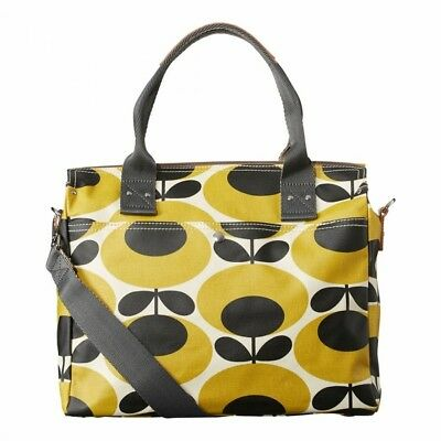 Orla Kiely Mustard Giant Oval Flower Zip Messenger Bag