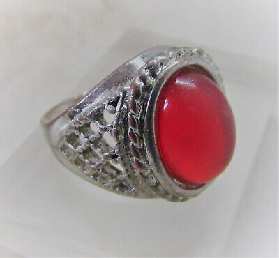 Beautiful Vintage Antique Post Medieval Ae Silvered Ring With Red Glass Insert