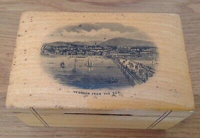 19th Century Mauchline Ware Money Box Isle Of Wight Ventnor From The Sea