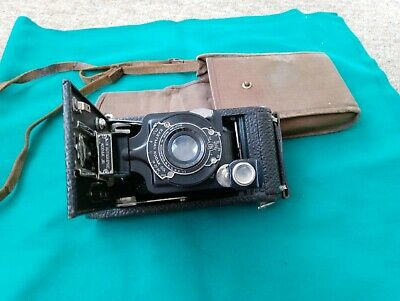 Vintage - No 1A - Kodak Junior Autographic Folding Camera And Canvas Case