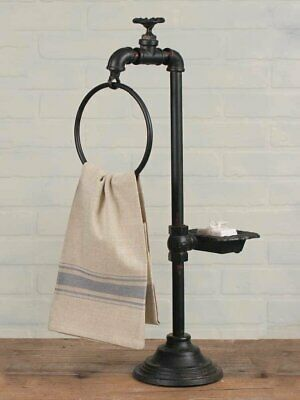 Industrial-Water Faucet Soap Dish and Towel Holder Twist of Farmhouse Decor