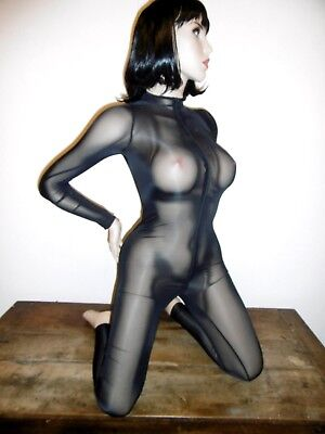 catsuit T36/38 moulante catsuit shiny zip fesses overall unisexe bodycon 423+
