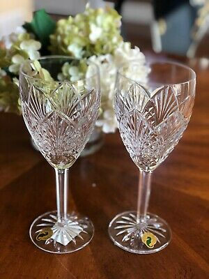 Waterford Crystal Ireland Waterville Goblet Wine Glass Etched Seahorse New Box