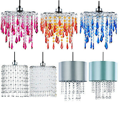 Modern Light Shade Ceiling Pendant Lamp Shade Chandelier Crystal Droplets Beads