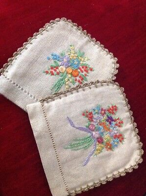 Vintage Embroidered Lined Egg Cosy Covers, Rose Bouquet Design X 2