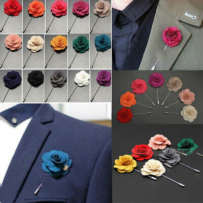 Men's Brooch Pin Flower Daisy Stick Handmade Fabric 20 Colors Lapel Boutonniere