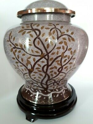 Brass Adult Urn for Ashes - Cloisonne Tree of Life - Small Scratches Reduced !!