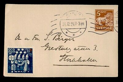 DR WHO 1924 SWEDEN STOCKHOLM STATIONERY CHRISTMAS SEAL  e02945