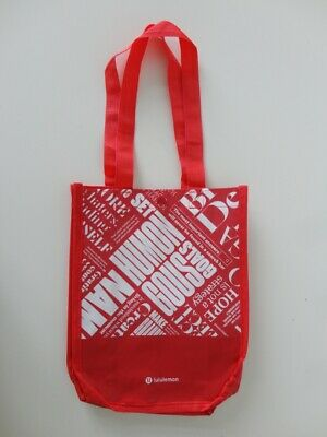 New LULULEMON 20 Year Manifesto Red Reusable Shopping Gym Lunch Bag Small