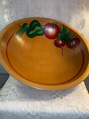 Vintage WOOD wooden ball foot BOWL hand painted Vegetables 12.5 inch MUNSING??