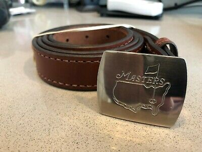 Masters Tournament Golf Silver Buckle/Medium Brown Leather Belt Strap.  Size 38""