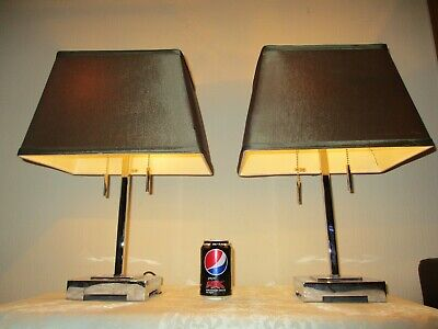 Pair Of Art Deco Style Chrome Table Lamps With Satin Shades