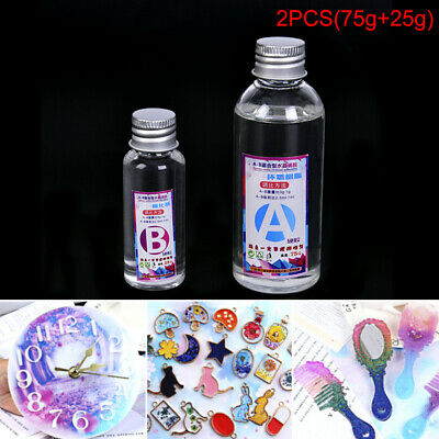 2PCS Transparent Clear AB Hard Epoxy Resin Pigment for Making Jewelry Crafts DIY