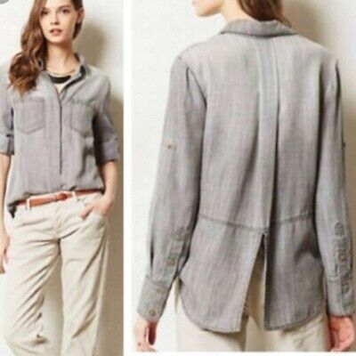 1ee638002326 Cloth   Stone Anthropologie Split Back Button Down Shirt Size M Tan Grey NEW