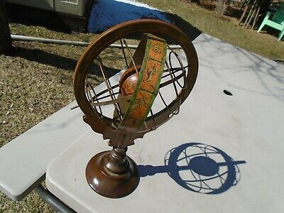 "Vintage Wood & Metal Zodiac World Globe on Stand made in Italy 17"" Tall"