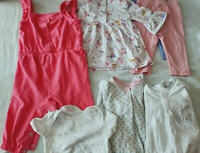 3-6 Months Girls Bundle, 7 Items, Sleepsuit, Leggings, Dress, Playsuit