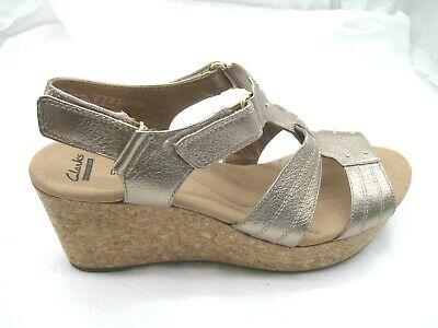 9a231d02d57 Clarks Collection 11M Annadel Orchid cork gold wedges womens sandals shoes