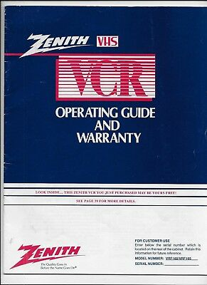 ZENITH VHS VCR Operating Guide/Manual Video Cassette Recorder Book VRF 160/165
