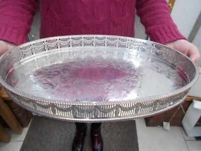 Large Fine Quality Silver Plated Serving Tray Very Ornate Gallery Lovely Cond