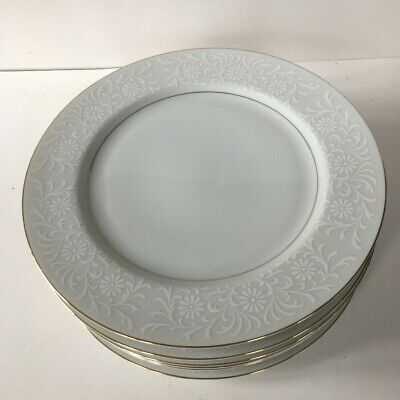 """Set of 8 Simple White Chantilly Dinner Plates by Coventry 10 1/4"""" NICE!! Look!!"""