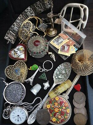 A lovely collection of Vintage / antique Curio silver plated, coins & stamps etc
