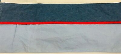 Lambs & Ivy Crib Skirt Dust Ruffle Blue Denim Jean Look Red Stripe Boy
