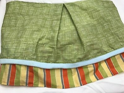 CoCalo Crib Skirt Ruffle Nursery Dinos At Play Green Orange Stripes Boy